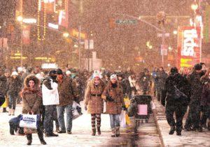 Schneefall Stadt